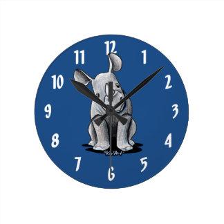 Rinoceronte de KiniArt Reloj Redondo Mediano