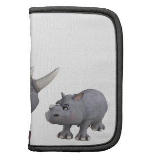 Rinoceronte de la madre y del hijo del dibujo anim organizador