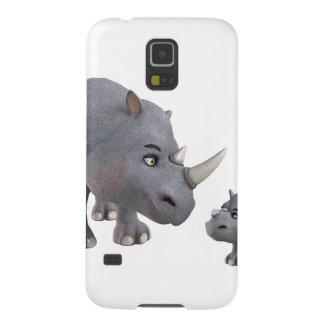 Rinoceronte de la madre y del hijo del dibujo fundas para galaxy s5
