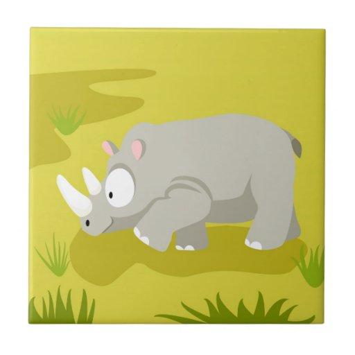 Rinoceronte de mi serie de los animales del mundo azulejo cuadrado pequeño