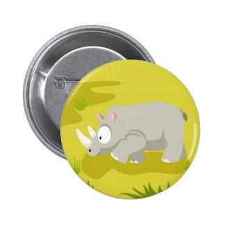 Rinoceronte de mi serie de los animales del mundo pin redondo de 2 pulgadas
