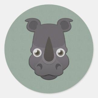 Rinoceronte de papel etiquetas redondas
