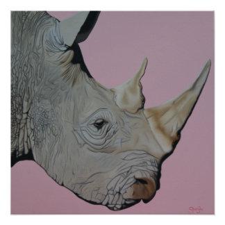 """Rinoceronte """"de piel gruesa"""" en fondo rosado perfect poster"""
