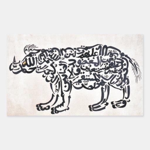 Rinoceronte de Tugra Pegatina Rectangular