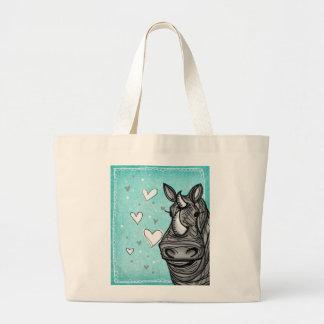 rinoceronte del amor bolsa tela grande