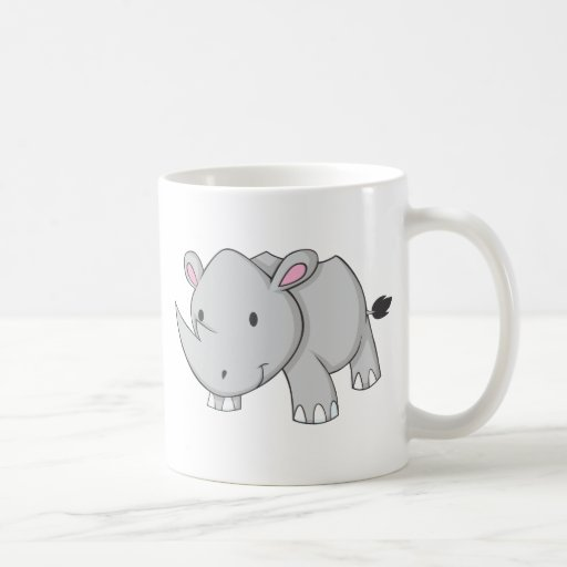 Rinoceronte del bebé taza básica blanca