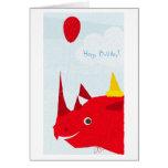 Rinoceronte del feliz cumpleaños (texto editable) tarjetón