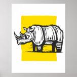 Rinoceronte del grabar en madera impresiones