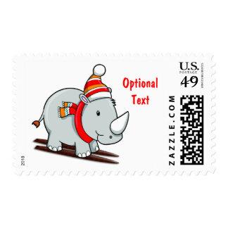 Rinoceronte del invierno del esquí en los esquís - sellos postales