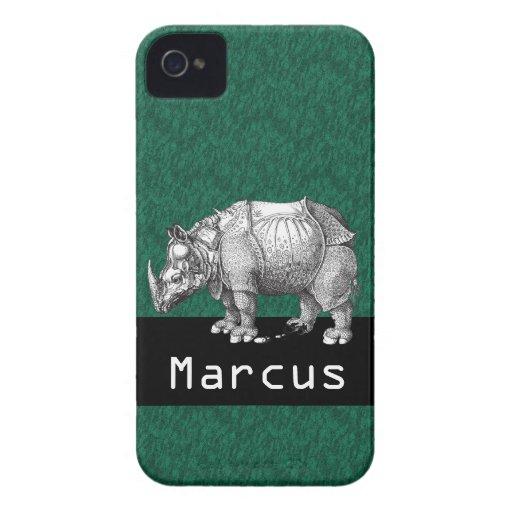 Rinoceronte del verde esmeralda iPhone 4 funda