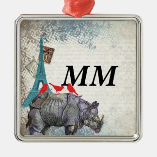 Rinoceronte del vintage adorno navideño cuadrado de metal