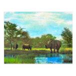 Rinoceronte del vintage de la reproducción, reserv postal
