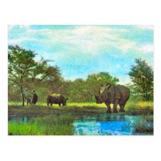 Rinoceronte del vintage de la reproducción, reserv tarjeta postal