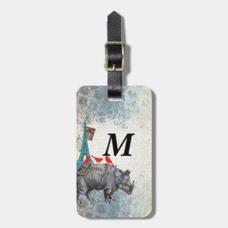 Rinoceronte del vintage etiqueta para equipaje