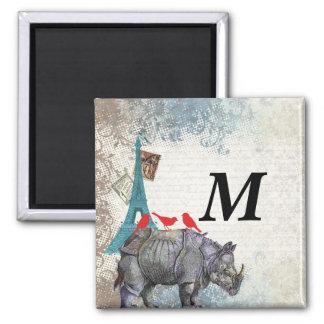 Rinoceronte del vintage imán cuadrado