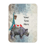 Rinoceronte del vintage imán de vinilo