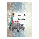 Rinoceronte del vintage invitación 12,7 x 17,8 cm