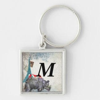 Rinoceronte del vintage llaveros personalizados