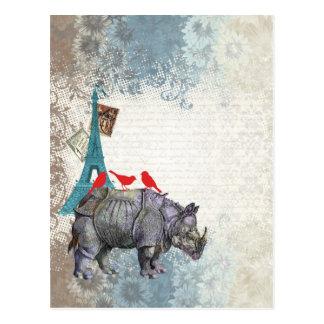 Rinoceronte del vintage postal