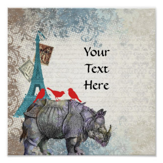 Rinoceronte del vintage póster