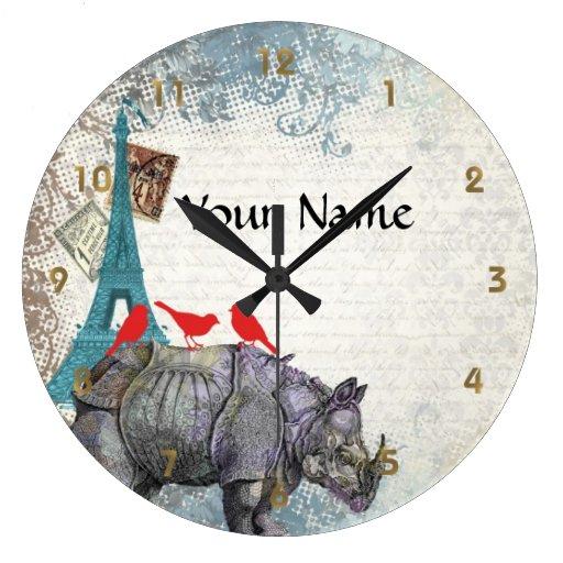 Rinoceronte del vintage reloj redondo grande