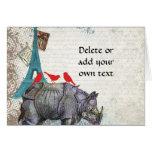 Rinoceronte del vintage tarjeta pequeña