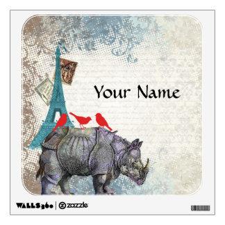 Rinoceronte del vintage vinilo adhesivo