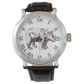 Rinoceronte - dibujo del estilo del renacimiento reloj