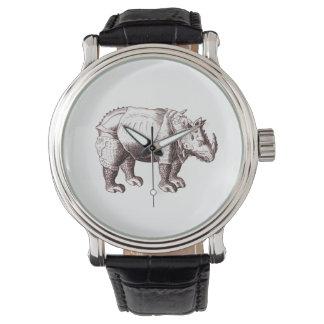 Rinoceronte - dibujo del estilo del renacimiento relojes