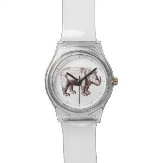 Rinoceronte - dibujo del estilo del renacimiento relojes de pulsera