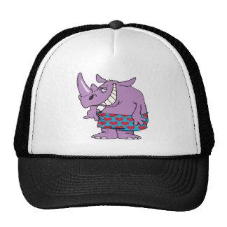 rinoceronte divertido del peso perdidoso en boxead gorras