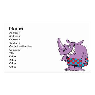 rinoceronte divertido del peso perdidoso en boxead tarjetas de visita