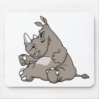 Rinoceronte duro del dibujo animado alfombrillas de ratones