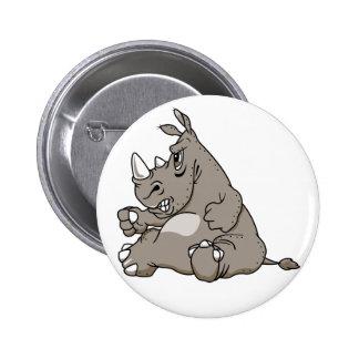Rinoceronte duro del dibujo animado pin redondo de 2 pulgadas
