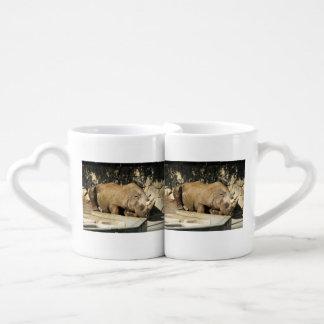Rinoceronte el dormir set de tazas de café