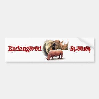 Rinoceronte el pegatina en peligro de la especie etiqueta de parachoque