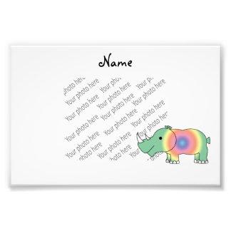 Rinoceronte en colores pastel verde conocido arte con fotos