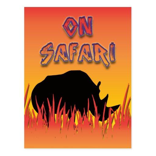 Rinoceronte en las postales del safari