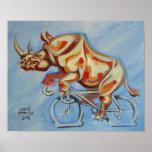 Rinoceronte en una bicicleta posters