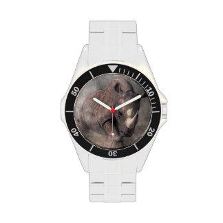 Rinoceronte enojado relojes de pulsera