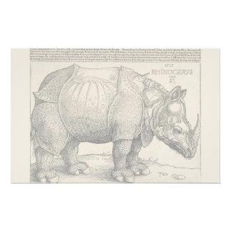 """Rinoceronte, grabar en madera de Albrecht Durer Folleto 5.5"""" X 8.5"""""""