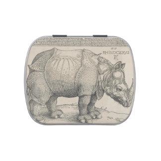 Rinoceronte, grabar en madera de Albrecht Durer Latas De Caramelos