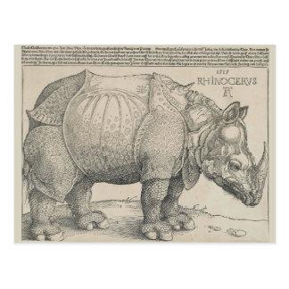 Rinoceronte, grabar en madera de Albrecht Durer Tarjetas Postales