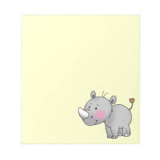 rinoceronte lindo del bebé bloc de papel