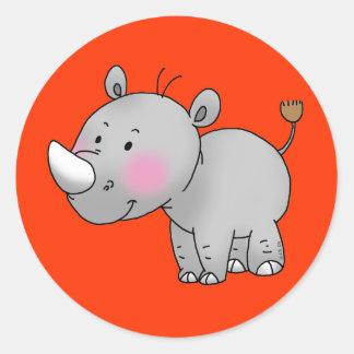 rinoceronte lindo del bebé pegatina redonda