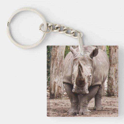 Rinoceronte Llavero Cuadrado Acrílico A Doble Cara