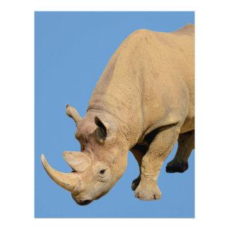 Rinoceronte negro aislado membrete a diseño