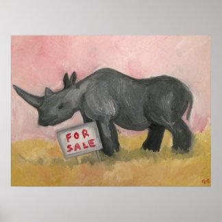 Rinoceronte para la venta poster