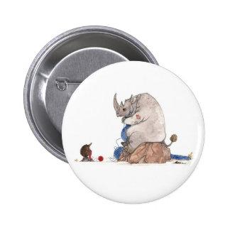 Rinoceronte que hace punto el botón
