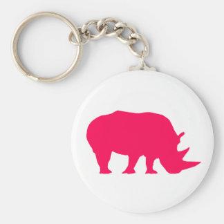 Rinoceronte rosado llavero redondo tipo pin